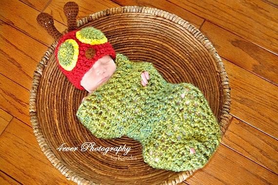 Newborn Very Baby Caterpillar Crochet Hat And Cocoon Photo Prop Set Preemie Infant