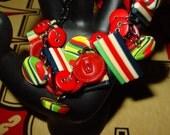 Vintage Fiesta Button Black Chain Bracelet. Stripes, Red, Blue, Green, Bold Colors.