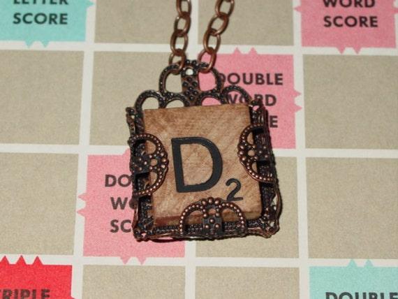 Vintage Scrabble Tile Letter D Monogram Initial Necklace Wrapped in Copper Filigree