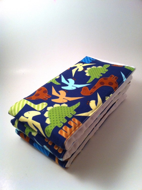 Cloth Diaper Burp Rag Set, Burpie, Burp Cloth, Dinos, Dinosaurs, Boy