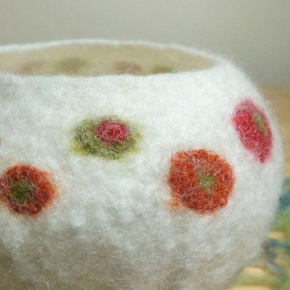 Felted Wool Bowl with Spots