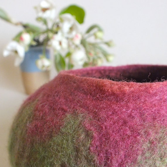 Felted Wool Bowl Pink and Green