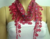 Clearance SALE was 13 now 8 usd Pink cotton scarf with purple pink flowers printed and pink lace fringe