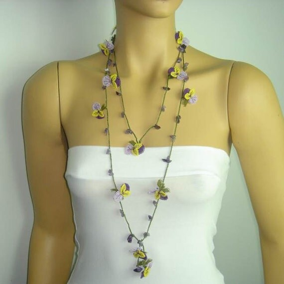 Violet needle lace oya necklace scarf with amethyst stones