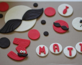 43-Piece Mustache-Themed Fondant Cake Topper with Coordinating Dots