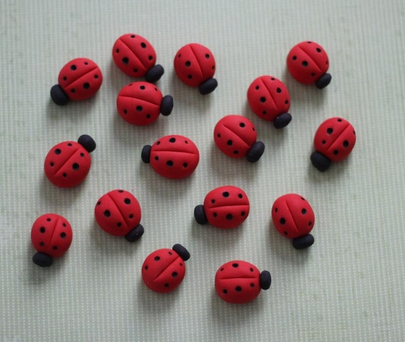 24 PCS. 3D Ladybug Fondant Toppers Perfect for that Special Occasion - Wedding, Birthday, Baptismal