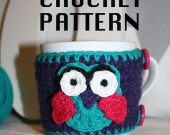 OWL COFFEE COZY, Crochet Pattern,Handmade, Pattern,Owl, Gift, Owl Pattern,Cozy Pattern, Owl Gift, Decor, Lifestyle, Easy / Intermediate