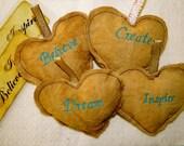 Inspirational Heart Ornaments - Dream, Believe, Create, Inspire
