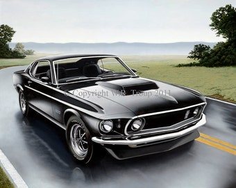 """Ford Mustang Art, 1969 Mustang Boss 429 Giclee 14x18"""" size"""