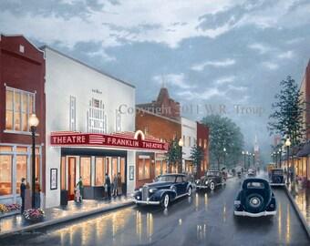"Franklin Theatre Print, a 28X36"" Canvas Giclee by Wm. Raymon Troup"