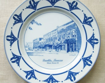 Franklin Tennessee Plate, Main Street II in Blue and White Porcelain for Collectors