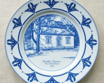Carter House Collector Plate, Raymon Troup, Blue and White Porcelain