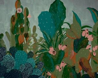 Desert plants landscape - serigraphie - illustration - giclee print