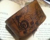 Romantic Music Notes Leather Bracelet Wristband. handcrafted OOAK DGierat