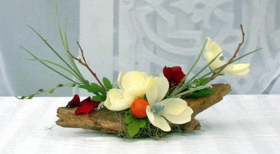 Silk Flower Arrangement Driftwood Blossoms