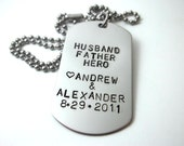Hand Stamped Stainless Steel Dog Tag Necklace