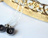 """01 vintage tombstone typewriter """"HUGS and KISS"""" necklace with XO letters"""