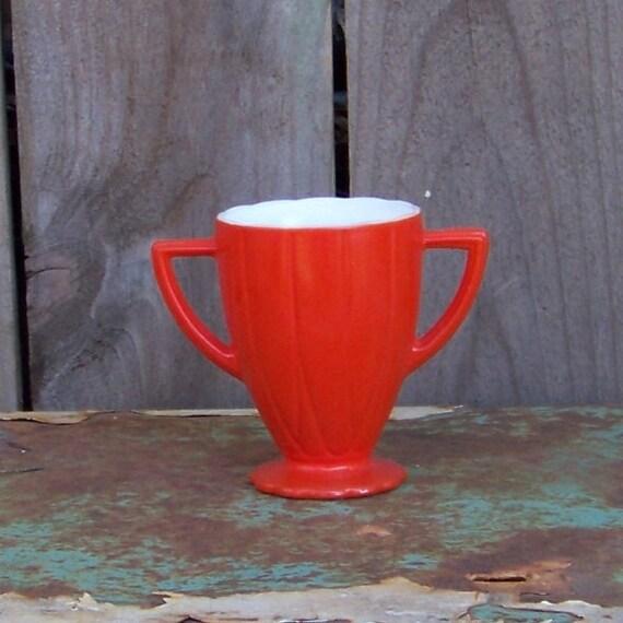 Orange Sugar Bowl Newport Platonite Hazel Atlas Glass Co. 1940 Vintage