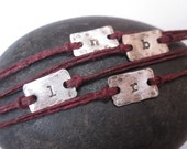 Hand stamped sterling silver and irish linen rustic initial bracelet