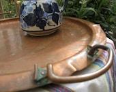 Vintage COPPER CRAFTSMEN TRAY Arts and Crafts signed 950 Alaska Large Hand Hammered serving tray  solid handles