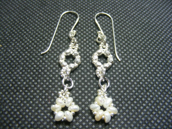pearl earrings, 925 Silver and Pearls Earrings, Delicate and Sweet, silver and pearls handmade jewelry