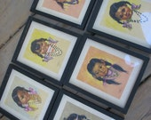 SALE Vintage Gerda Christoffersen Papoose-style Native Indian Girl Pictures in Frames Set of 6