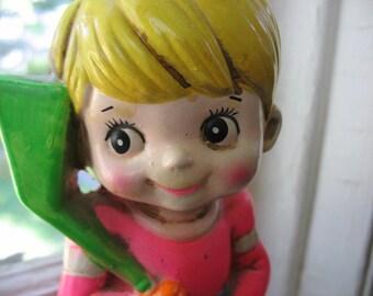 SALE Piggy Bank Little Boy Hockey Player Ceramic Made In Japan