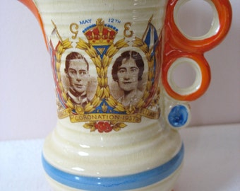 King George VI And Queen Elizabeth Coronation Creamer Jug Small Pitcher Ewer 1937 Wadeheath England Scarce Hard To Find