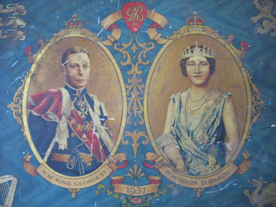 SALE Save 5 Dollars King George VI & Queen Elizabeth Coronation Tin Lid Only 1937 Toffee or Biscuit Tin Lid Rare Treasury Item x2
