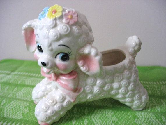 Rubens Small Lamb Planter Easter Lamb Lamb Vase Lamb Baby Planter White With Pink Bow Pink Blue and Yellow Flowers Treasury Item