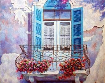 Window to the Mediterranean/  Handmade masterpiece, on canvas by Miki Karni