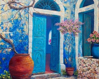 Turquoise/ Original oil painting on canvas by Miki Karni