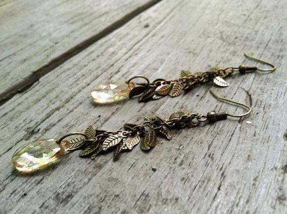 Champagne briolette leaf earrings