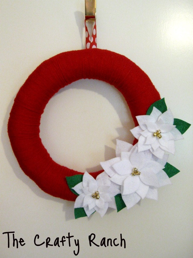 White Poinsettias on Red Yarn Wreath - 14 inches