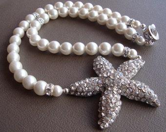 Bridal Starfish Necklace with Swarovski pearls, Bridal Jewelry, Bridesmaids Jewelry, Bridesmaids Gift, Beach Wedding,Bridesmaids Accessories
