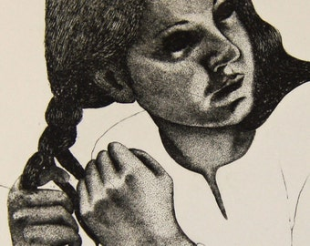 Portrait print etching - Portrait of a lady plaiting her hair Fine detail Line drawing Stippling