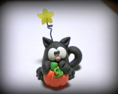 Halloween Black Cat with Pumpkin under a Star polymer clay figure