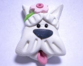 Westie Terrier dog polymer clay bead or bow center