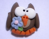 Hooty spring owl polymer clay bead or bow center