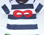 Boys Navy and White Striped Applique Red Superhero Mask Boy Tee Shirt T Shirt Tshirt - Size 2T