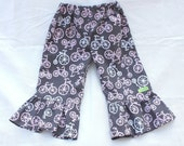 Girl Ruffle Pants Michael Miller It's A Girl Thing Bicycles Bloom - Size 2