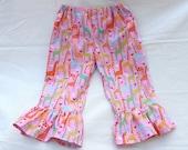 Girl Ruffle Pants Michael Miller Giraffe Love Pink - Size 4