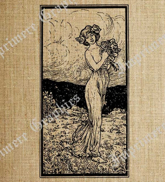 Vintage Digital Graphics Greek Goddess Flowers Breast Great Illustration for Printing T Shirt Note Cards Scrapbooking