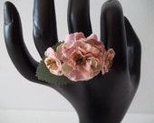 Tiny Pink and Cream FLOWER Cluster RING Set on ADJUSTABLE Dull Copper Tone Base
