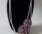 Double Stranded Long White Pearl Necklace Accented with Large Lilac FLOWERS Design