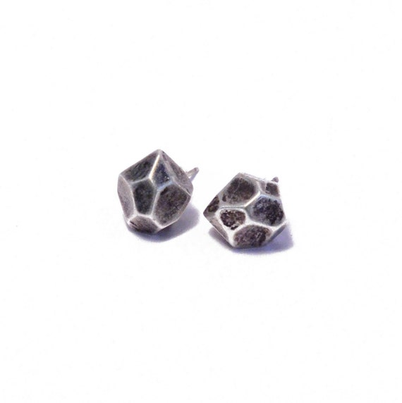 faceted earrings // oxidized silver plated