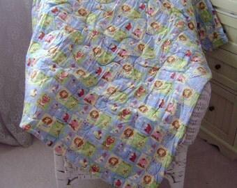 Zoo Animal Alphabet Flannel Baby Nursery Crib Blanket Lap Comforter Quilt with Free Pair of Baby Socks