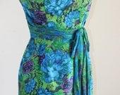 RESERVED Vintage Cocktail Dress Silk Floral Blue Green Purple Chrysanthemums Silk Bow