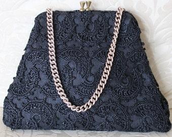 Chic Black 1950's Textured Kelly Handbag Purse Gold Chain Handle