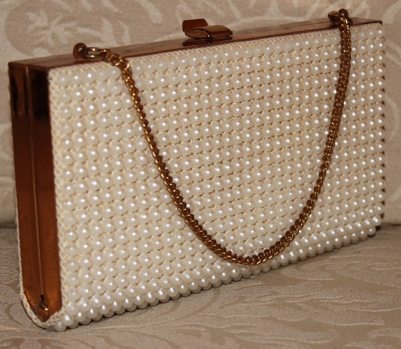 Vintage 1960's Chic Pearl & Gold Brass  Evening Wedding Cocktail Purse Handbag
